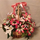 "1. Silk floral arrangement in basket, approximately 18"" tall"
