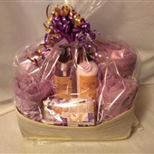4. Lavender towels and bath accessories