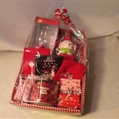 9. Holiday hostess basket - soaps, candle, hand towels